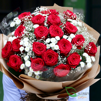 Red roses and baby breath bouquet FREE SHIPPING